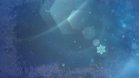 Abstract blue snow falling and animated closeup Merry... Stock Video Footage