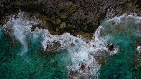 Top view of a deserted coast. Rocky shore of the island... Stock Video Footage