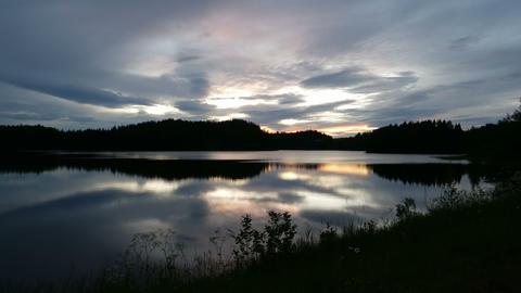Cloudy Sunset on a Norway Lake. 4k UltraHD 2160p 4K TimeLapse Footage