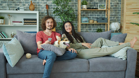 Man and woman watching comedy on TV laughing on couch at home with cute dog Archivo