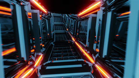futuristic scifi glass tunnel corridor with glowing lights 3d illustration live Animation