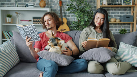 Girl and guy reading books while corgi puppy chewing toy on couch at home Footage