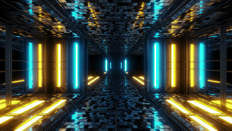 futuristic sci-fi space tunnel corridor with bricks texture 3d illustration Animation