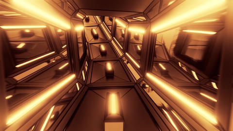 dark futuristic sci-fi space tunnel corridor with glowing lights 3d illustration Animation