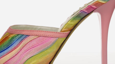 Close-up. Stylish women's shoes with high heels and platform. Panorama Footage