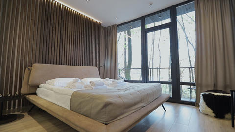 Home interior walk through bedroom.modern apartment Live Action
