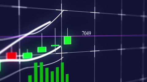 Growing candlestick chart of stock market investment trading. Computer generated Live Action