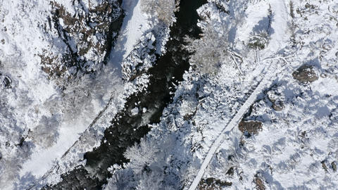 Aerial shot of the beautiful winter landscape Footage