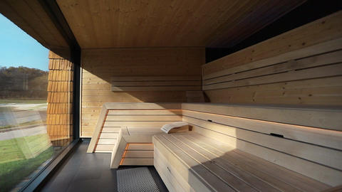 Modern room sauna in spa hotel Footage