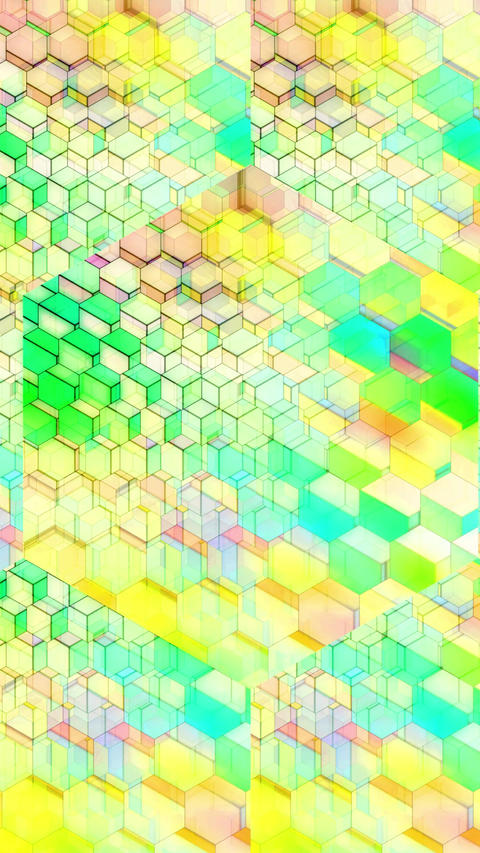 Colorful Winking Hexagons - Vertical 03 Animation