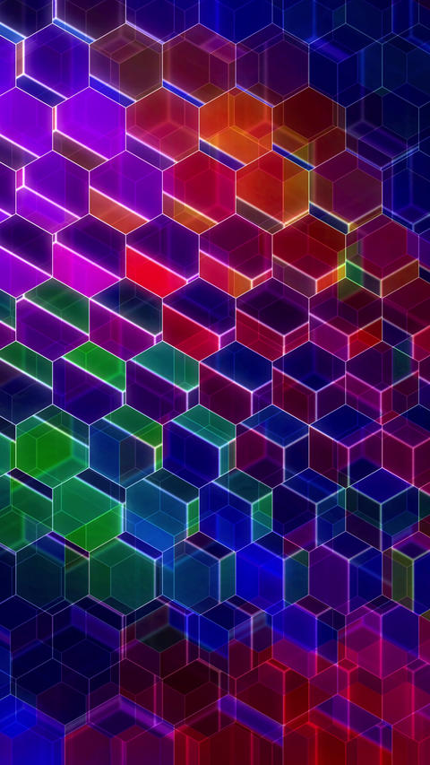 Colorful Winking Hexagons - Vertical 04 Animation