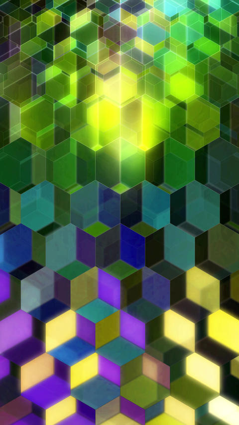 Colorful Winking Hexagons - Vertical 05 Animation