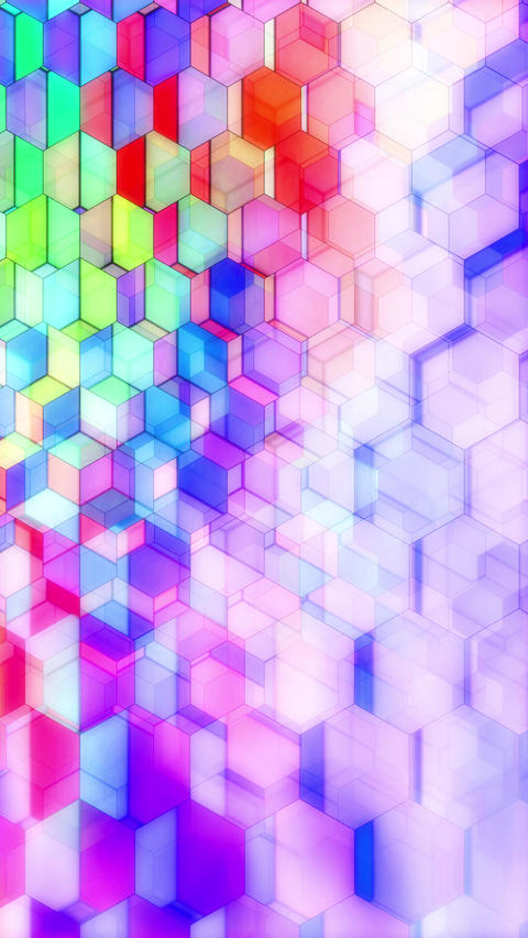 Colorful Winking Hexagons - Vertical 06 Animation