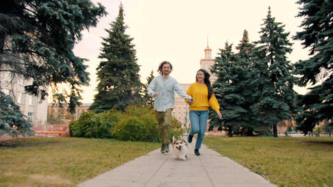 Joyful young couple running outside in urban park with welsh corgi puppy Live Action