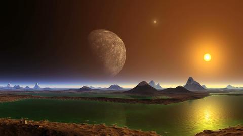 UFO and Big Moon GIF