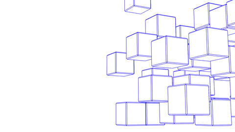 Loop Able Blue Wire Frame Cube Abstract On White Text Space Animation