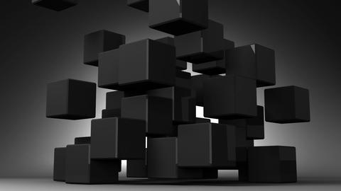 Black Cube Abstract On Black Background Animation