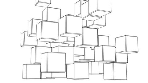 Loop Able Black Wire Frame Cube Abstract On White Background Animation