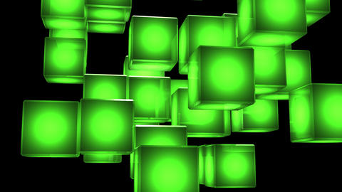 Green Shining Cube Abstract On Black Background Animation