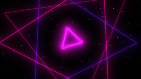 Flying through glowing neon lines Retro-futuristic 80s spinning triangle tunnel Animation