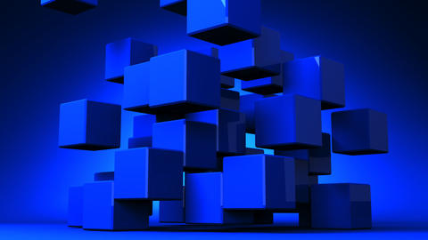 Loop Able Blue Cube Abstract On Blue Background Animation