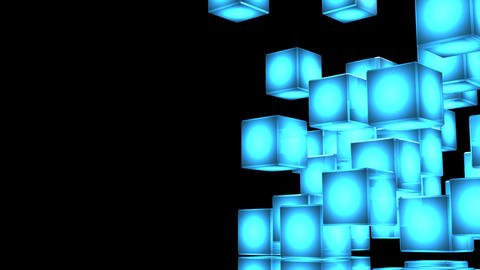 Loop Able Blue Shining Cube Abstract On Black Text Space Animation