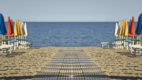 The squares and the beach of lignano sabbia d'oro Footage