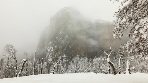 Time lapse of a snowy winter landscape in Yosemite National Park Footage