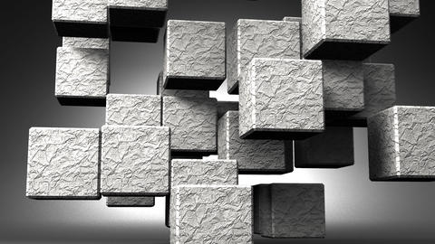 Stone Cube Abstract On Black Background CG動画