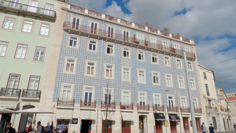 Typical house facades in the historic district of Lisbon Live Action