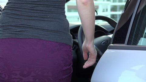 Woman Gets Into car Footage