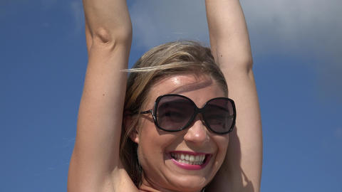 Excited Blonde Woman Wearing Sunglasses Footage