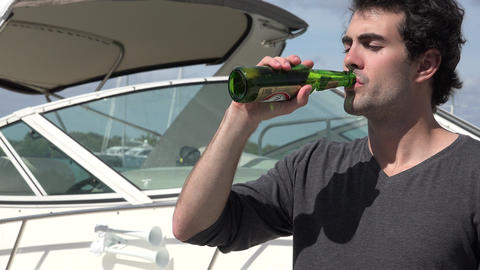 Drinking Beer Near Boat Footage