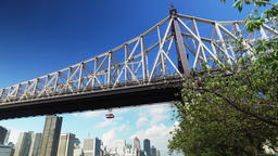 Ed Koch Queensboro Bridge Low Angle Establishing Shot Footage