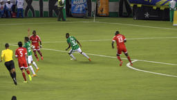 Soccer Ball Hits Player's Arm Stock Video Footage