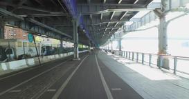 POV Riding Bike on East River Bikeway in Manhattan Footage