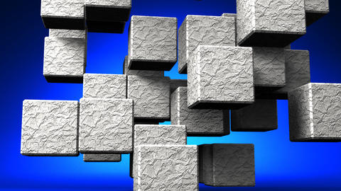 Stone Cube Abstract On Blue Background CG動画