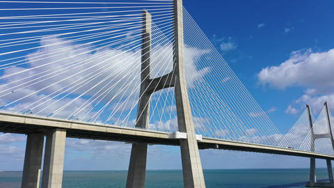 Impressive architecture of Vasco da Gama Bridge in Lisbon Live Action