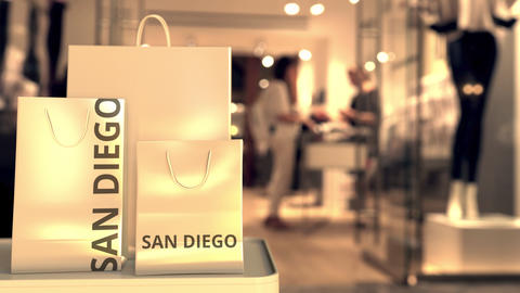 Shopping bags with San Diego text. Shopping in the United States related 3D GIF
