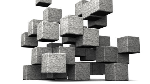Loop Able Stone Cube Abstract On White Background Animation