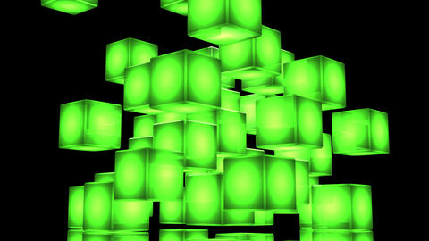 Loop Able Green Shining Cube Abstract On Black Background Animation