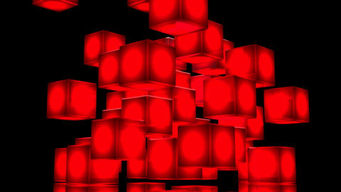 Loop Able Red Shining Cube Abstract On Black Background Animation