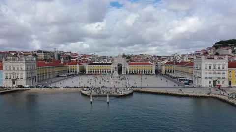 Aerial view over Commerce Square in Lisbon called Praca do Comercio - the Live Action
