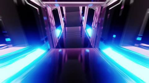 futuristic clean scifi glass tunnel corridor with glowing lights 3d illustration Animation