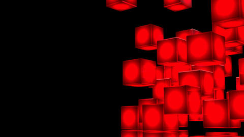 Loop Able Red Shining Cube Abstract On Black Text Space Animation
