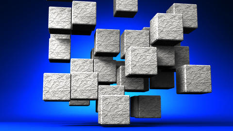 Loop Able Stone Cube Abstract On Blue Background Animation