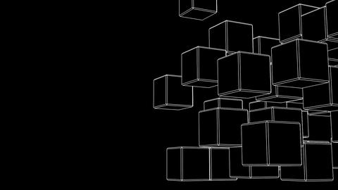 Loop Able White Wire Frame Cube Abstract On Black Text Space Animation