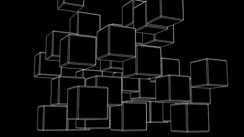 Loop Able White Wire Frame Cube Abstract On Black Background Animation