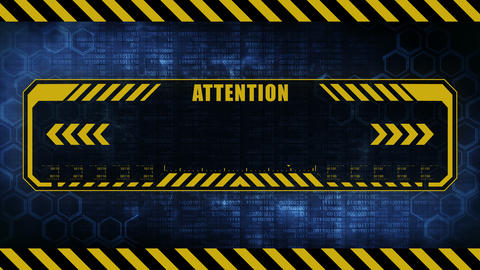 Attention message with copy space. Hexagon geometric design and binary numbers background. Digital Animation