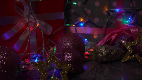 Chistmas and New Year decorations and gift boxes Live Action